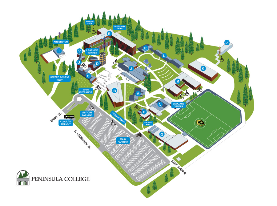 Peninsula College Campus map for Port Angeles