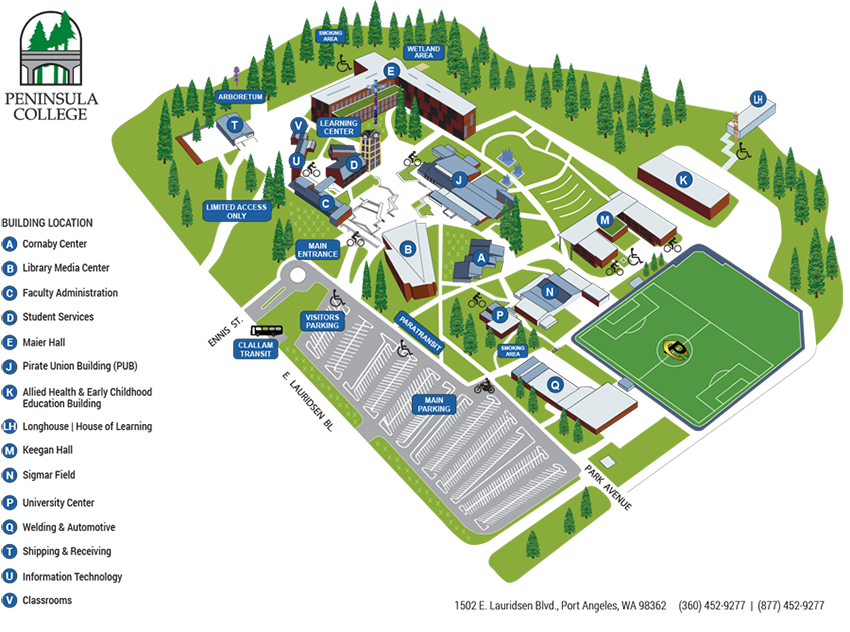 Campus map for Peninsula College